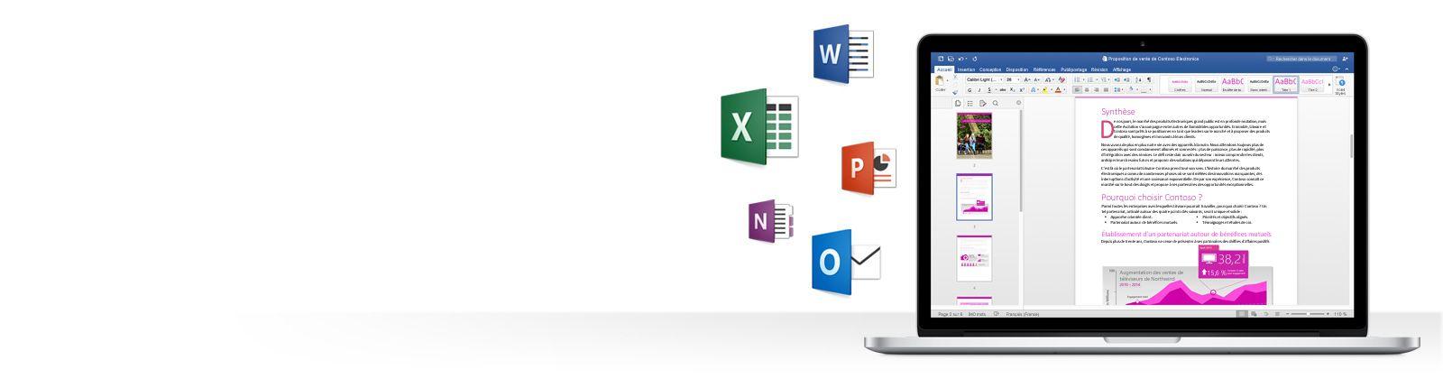 Icônes d'application Office et MacBook montrant un document Word dans le Nouvel Office pour Mac.