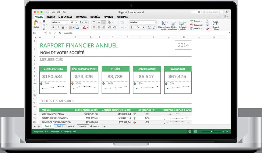 MacBook montrant une nouvelle feuille de calcul Excel pour Mac avec des graphiques.