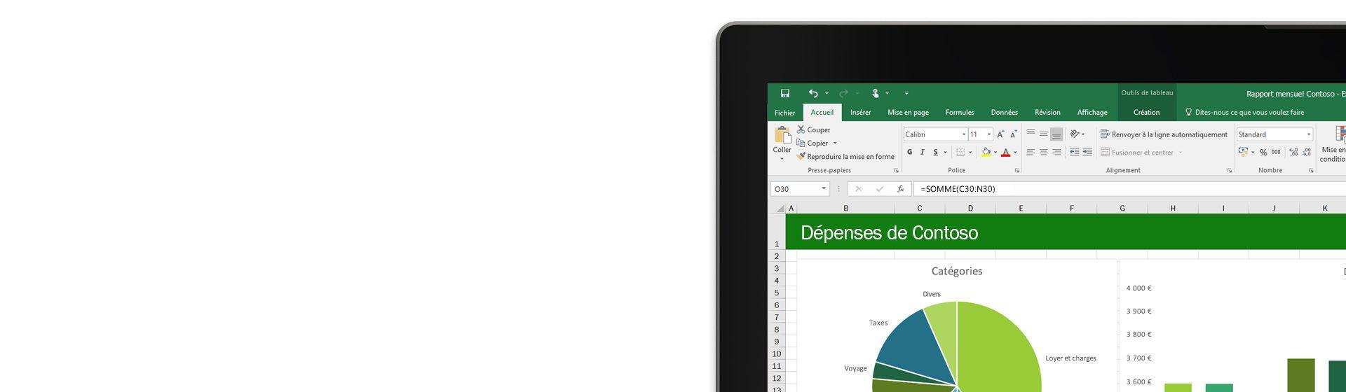 Angle d'écran d'ordinateur portable affichant un rapport de dépenses dans Microsoft Excel