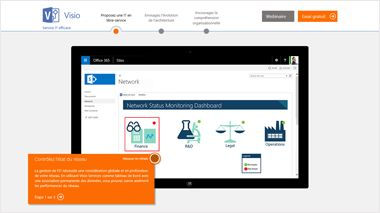 Page TestDrive de Visio, suivez une visite guidée de Visio Online Plan 2