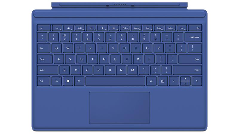 Vue de face du clavier Type Cover bleu pour Microsoft Surface Pro 4