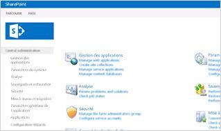 Capture d'écran de la console d'administration dans SharePoint Online.