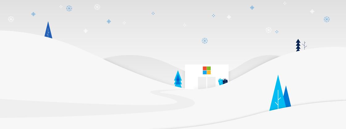 Illustration de Microsoft Store sur le thème des vacances.