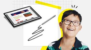 Un étudiant souriant avec un ordinateur et un stylet pour Surface