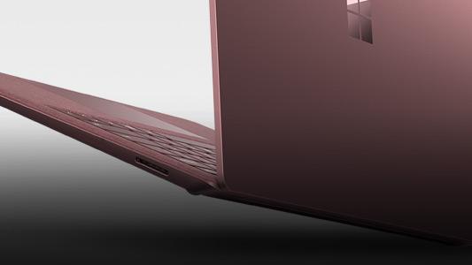L'arrière d'un Surface Laptop bordeaux