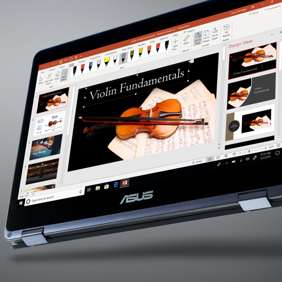 Un ordinateur ASUS Windows 10 affichant une présentation PowerPoint à l'écran