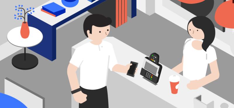 Homme payant son café à la caisse