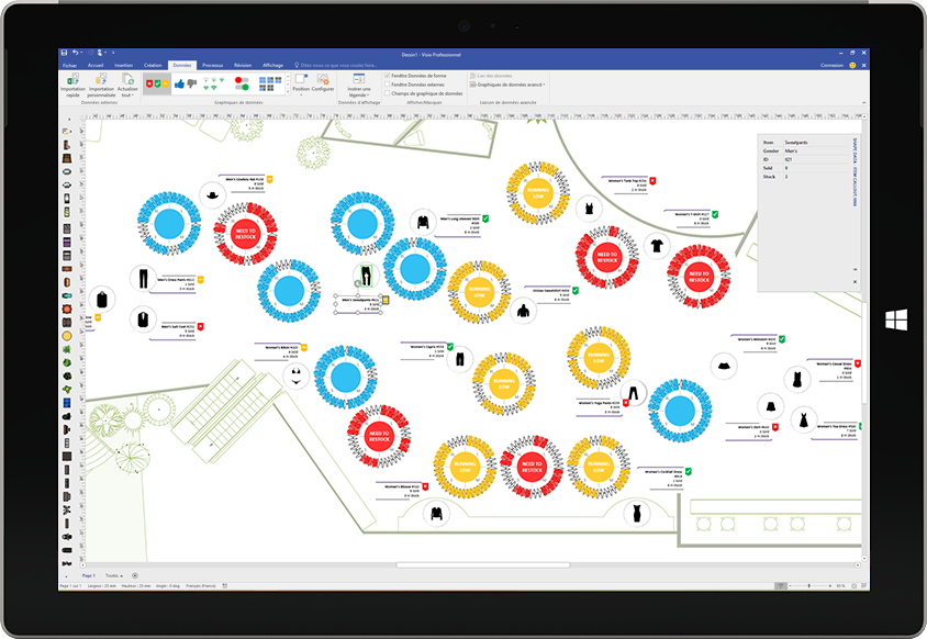 Tablette Surface affichant une visualisation des données personnalisée dans Visio