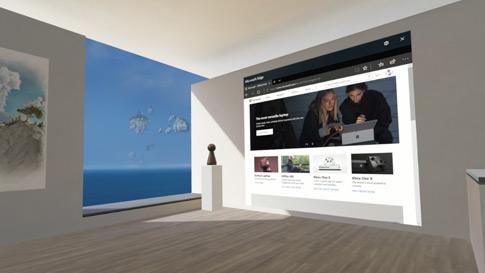 Image d'une salle virtuelle avec un écran de navigateur Edge projeté sur un mur