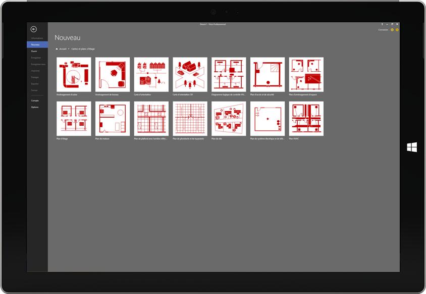 Tablette Microsoft Surface affichant la liste des modèles de plans de sol disponibles dans Visio