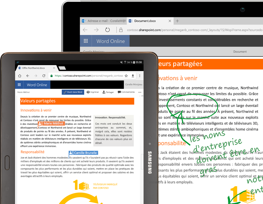 Ordinateur portable et tablette exécutant Word Online