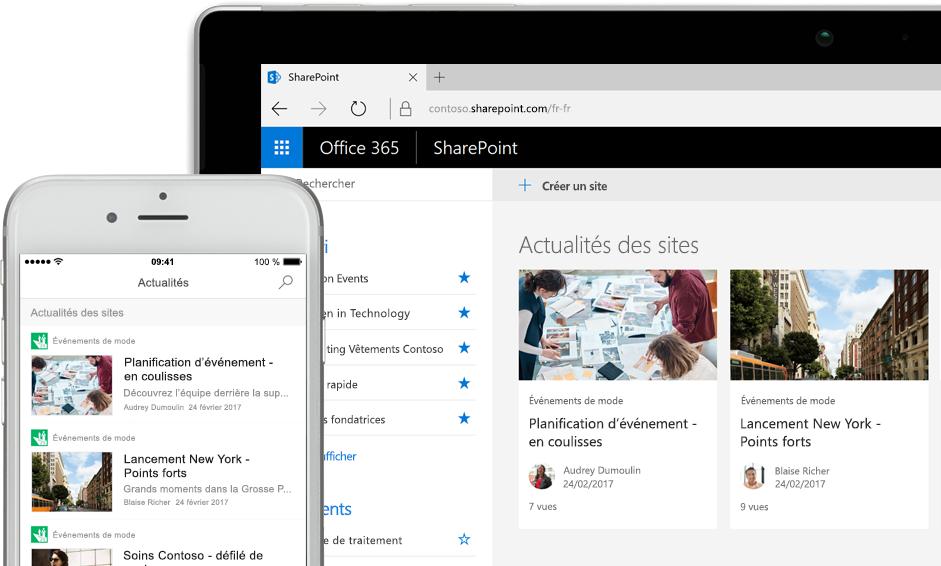 SharePoint avec actualités sur un smartphone, et avec actualités et cartes de sites sur une tablette PC
