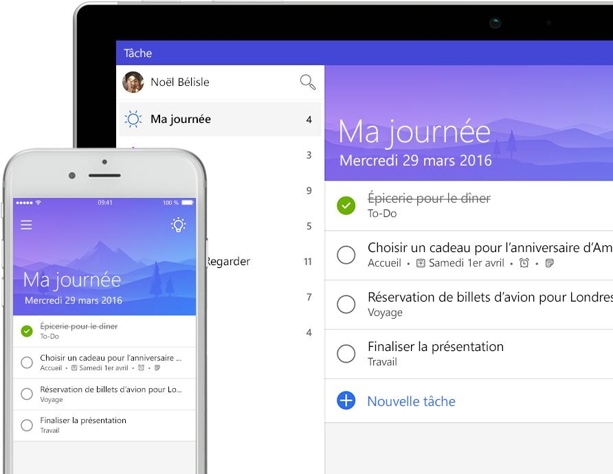 Liste Microsoft To-Do affichée sur un smartphone et une tablette