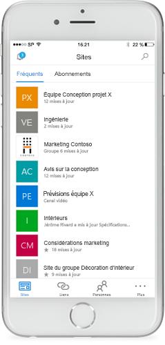 Téléphone sur lequel apparaît l'application mobile SharePoint