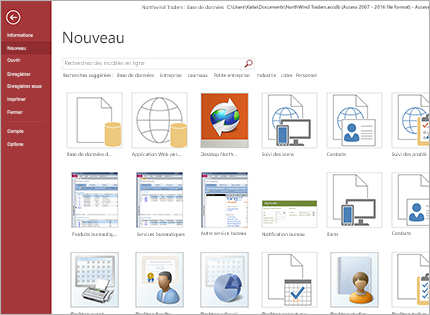 Une capture d'écran d'un modèle d'application de base de données