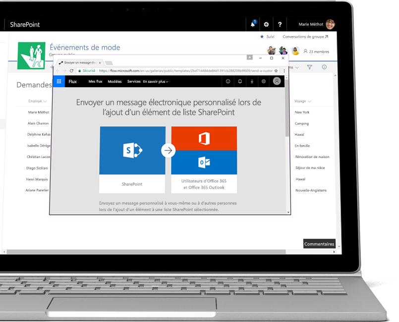 Liste SharePoint montrant des demandes de congé et une automatisation Flow pour envoyer un message électronique personnalisé lors de l'ajout d'une nouvelle demande de congé