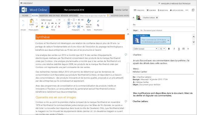 Message électronique ouvert en regard du volet de visualisation d'un document joint à l'aide de Word Online