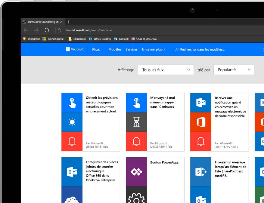 Tablette Windows sur laquelle s'exécute Microsoft Flow