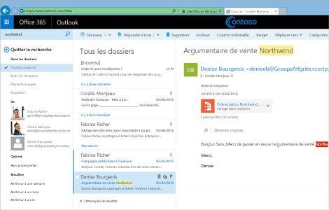 Gros plan de la boîte de réception d'un utilisateur dans Outlook Web App.
