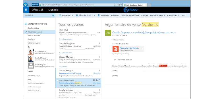 Fenêtre Microsoft Outlook affichant tous les dossiers de courrier sur lesquels porte une recherche
