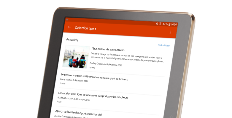 Conversation de groupe SharePoint sur tablette PC