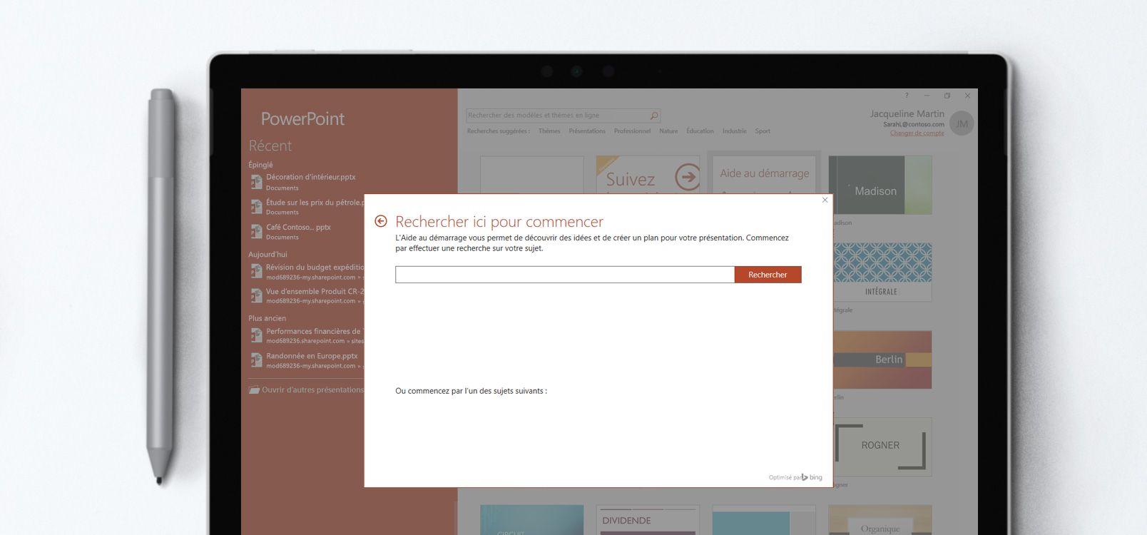 Écran de tablette affichant une présentation PowerPoint utilisant la fonctionnalité Aide au démarrage