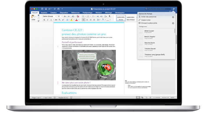 Ordinateur portable affichant un document Word avec des commentaires et le menu Options de partage.