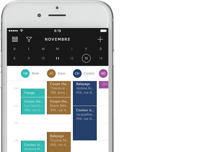 Téléphone affichant les outils de calendrier de Bookings dans Office 365.