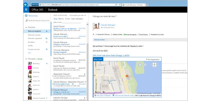 Gros plan de la boîte de réception d'un utilisateur dans Outlook sur le web, optimisé par Exchange.