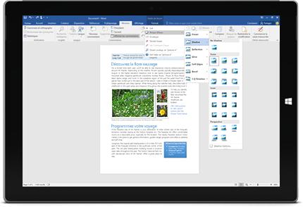 Tablette Surface affichant la nouvelle fonctionnalité Rechercher dans un document Word.