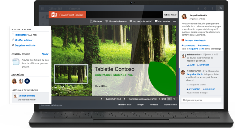 Ordinateur portable affichant une présentation dans PowerPoint Online et une conversation Yammer dans le même écran