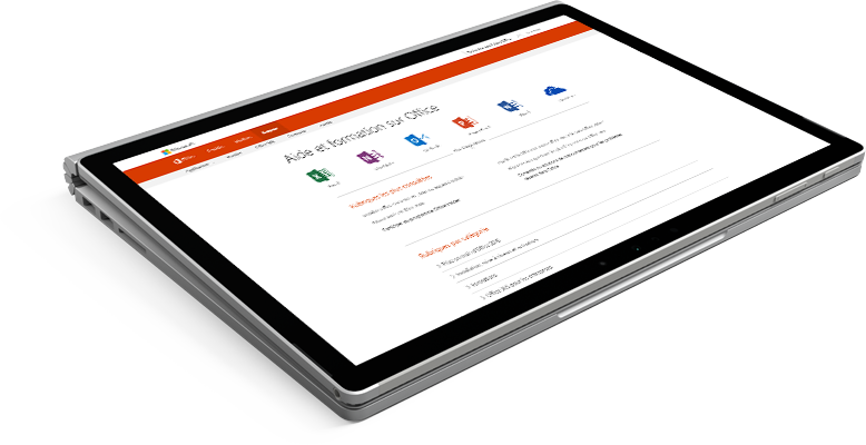 Ordinateur portable affichant le site web du support technique Office
