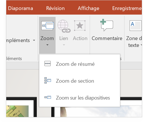 Tablette affichant une diapositive PowerPoint avec Zoom.