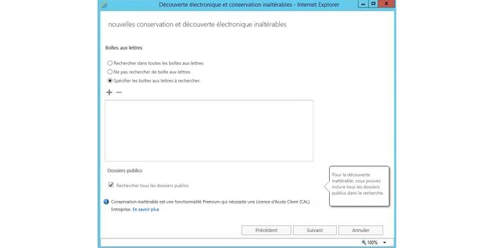 Fenêtre Internet Explorer affichant les fonctionnalités de conservation et eDiscovery inaltérables