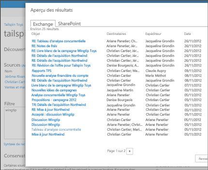 Gros plan de la page Aperçu des résultats d'une recherche dans Exchange Online.