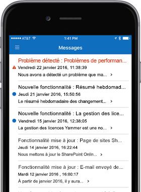 Image d'un smartphone affichant l'écran Messages.
