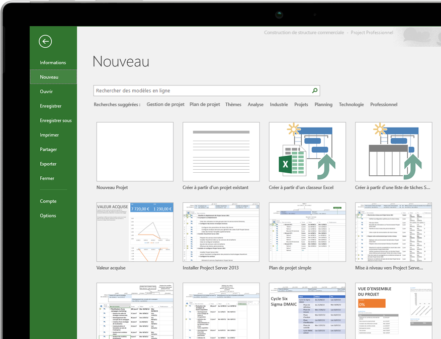 Appareil affichant le menu Nouveau fichier de Project, avec des miniatures de modèles