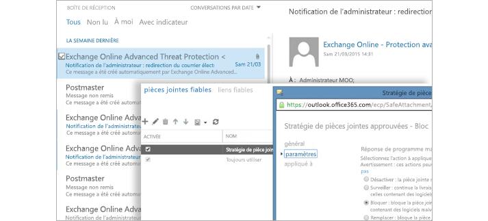 Capture d'écran d'un courrier de notification d'administrateur et d'une fenêtre de stratégie de pièces jointes fiables.