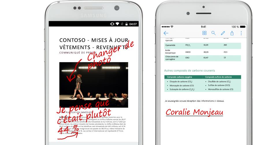 Deux smartphones affichant des documents et des notes manuscrites les concernant