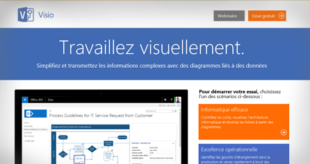 TestDrive de Visio s'affichant sur un écran d'ordinateur. Démarrez le TestDrive de Visio maintenant