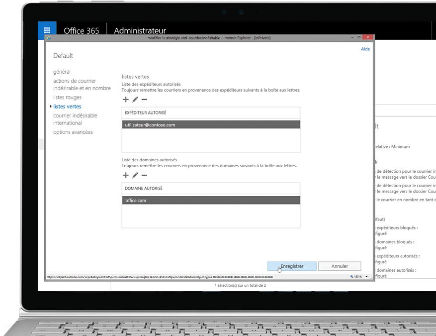 Tablette affichant la modification de la stratégie anti-courrier indésirable dans la console d'administration d'Office 365, avec un expéditeur et un domaine autorisés