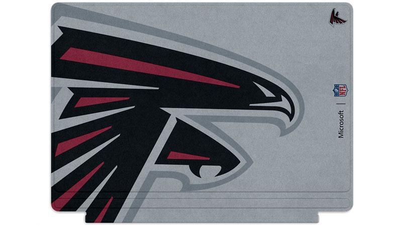Logo des Falcons d'Atlanta imprimé sur un clavier Surface Type Cover