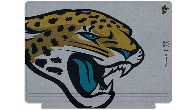 Logo des Jaguars de Jacksonville imprimé sur un clavier Surface Type Cover