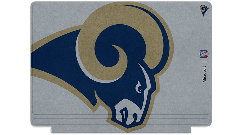 Logo des Rams de Los Angeles imprimé sur un clavier Surface Type Cover