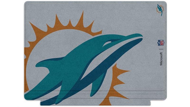 Logo des Dolphins de Miami imprimé sur un clavier Surface Type Cover