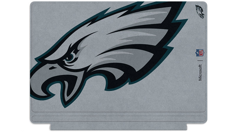 Logo des Eagles de Philadelphie imprimé sur un clavier Surface Type Cover
