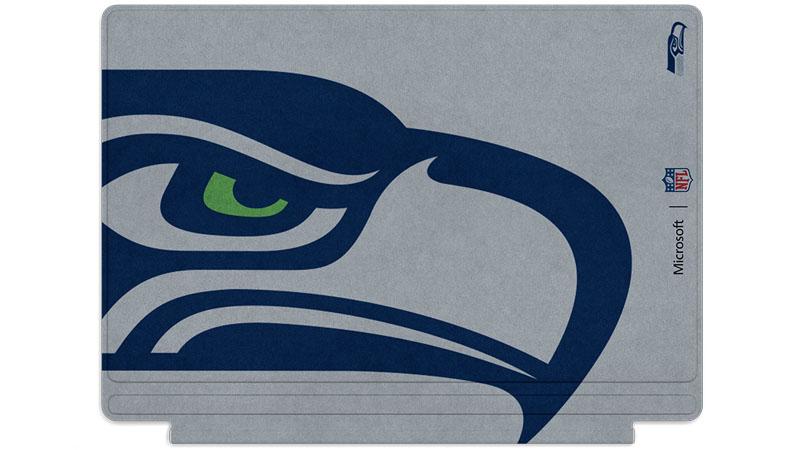 Logo des Seahawks de Seattle imprimé sur un clavier Surface Type Cover