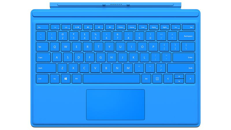 Vue avant du clavier Type Cover bleu clair pour Surface Pro 4