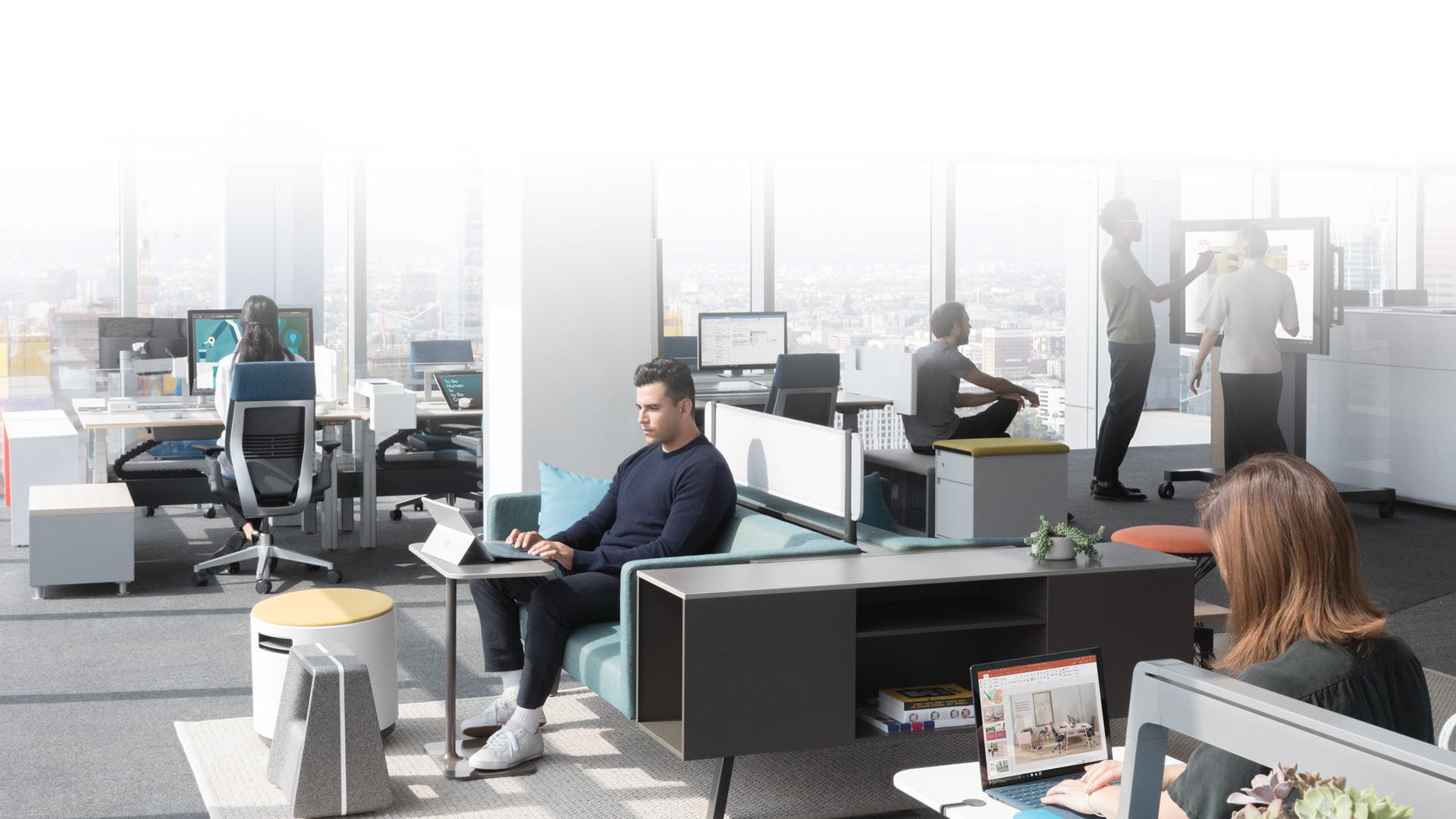 La gamme d'appareils Surface affichée sur un arrière-plan gris clair