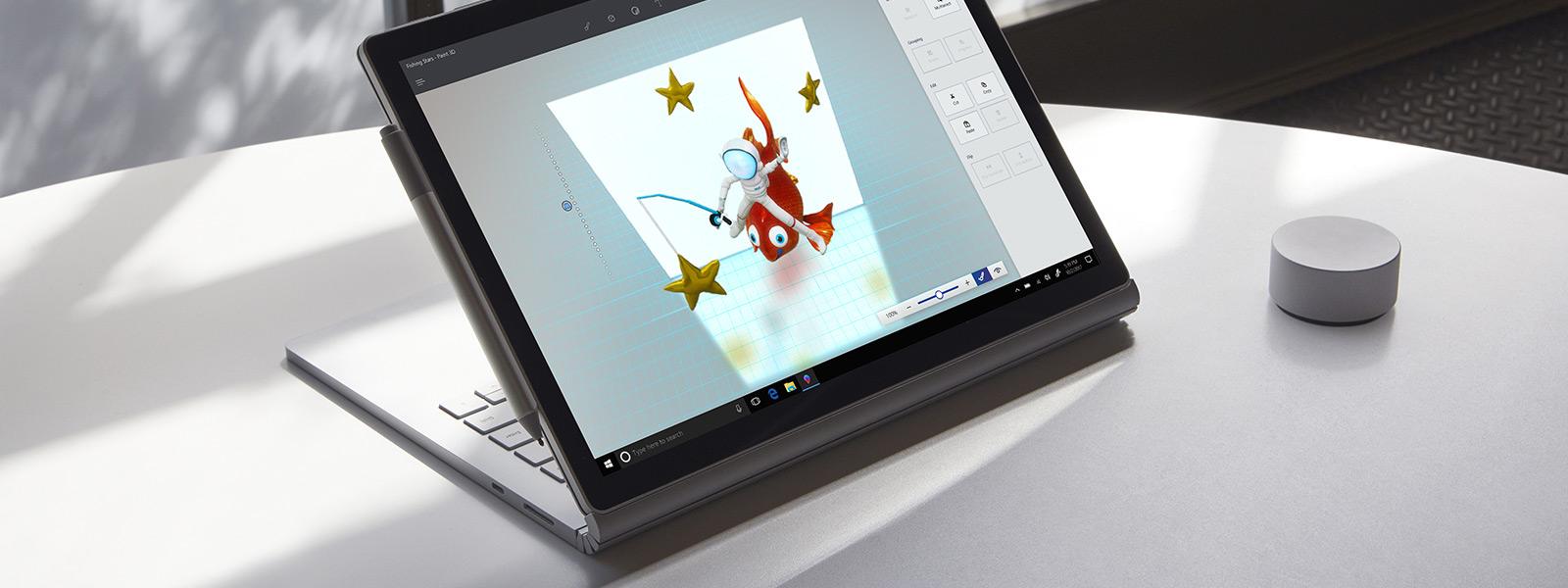 Entrée manuscrite dans Paint 3D avec un stylet Surface